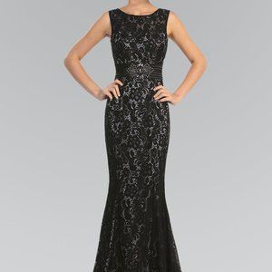 Sleeveless Lace Sheath Shape Prom Dress GSGL1101